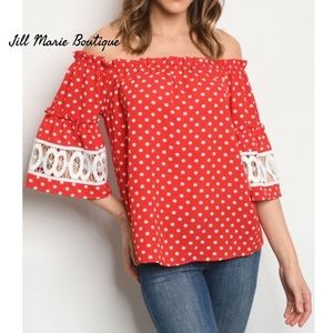 Red polka dot off the shoulder top NWT